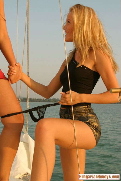 Cute Lesbians Kissing Nipples And Stripping On A Boat From Hungarian